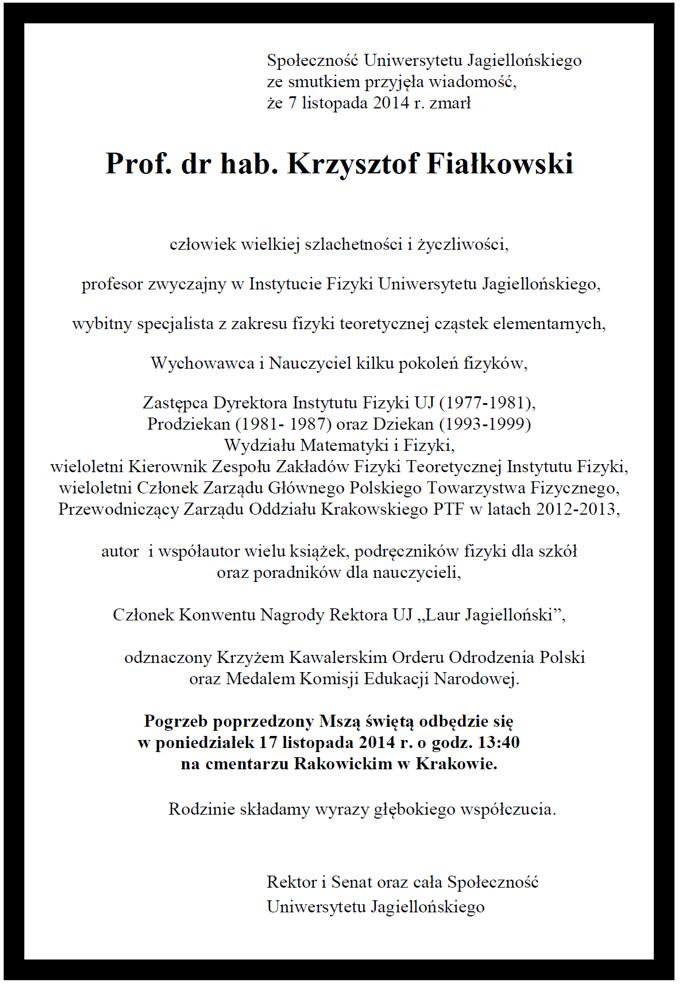 Profesor Krzysztof Fiałkowski - nekrolog